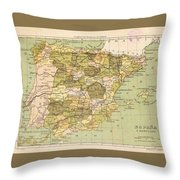Map Of Spain Throw Pillow