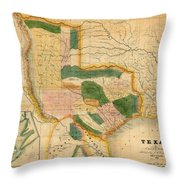 Map Of Texas 1834 Throw Pillow