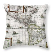 Map Of The Americas Throw Pillow by Henricus Hondius