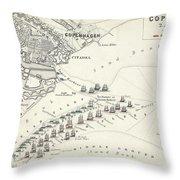 Map Of The Battle Of Copenhagen Throw Pillow