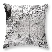 Map Of The Coast Of New England Throw Pillow by Simon de Passe
