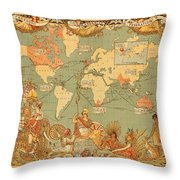 Map Of The Extent Of The British Empire 1886  Throw Pillow