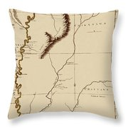 Map Of The Mississippi Riverr 1775 Throw Pillow