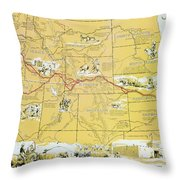 Map Of The Old Oregon Trail Throw Pillow