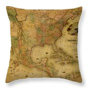 Map Of The United States 1849 Throw Pillow