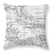 Map Of The West Indies Florida And South America Throw Pillow by English School