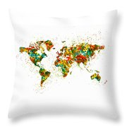 Map Of The World Watercolor Throw Pillow