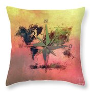 Map Of The World Wind Rose 1 Throw Pillow