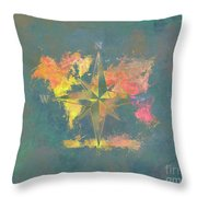 Map Of The World Wind Rose 2 Throw Pillow