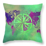 Map Of The World Wind Rose 3 Throw Pillow