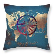 Map Of The World Wind Rose 4 Throw Pillow