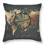Map Of The World Wind Rose 5 Throw Pillow