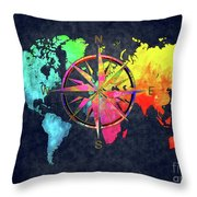 Map Of The World Wind Rose 6 Throw Pillow