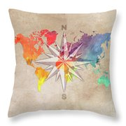 Map Of The World Wind Rose 7 Throw Pillow