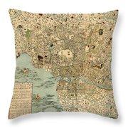 Map Of Tokyo 1854 Throw Pillow
