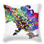 Map Of Ukraine-colorful Throw Pillow