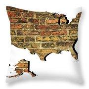 Map Of Usa And Wall. Throw Pillow