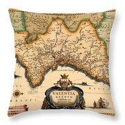 Map Of Valencia 1634 Throw Pillow
