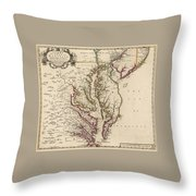 Map Of Virginia And Maryland Throw Pillow