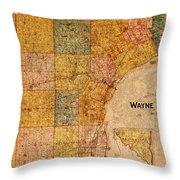 Map Of Wayne County Michigan Detroit Area Vintage Circa 1893 On Worn Distressed Canvas  Throw Pillow