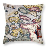 Map Of Zeeland Throw Pillow by Abraham Ortelius
