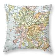 Map: Scotland Throw Pillow