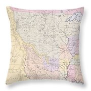 Map Showing The Localities Of The Indian Tribes Of The Us In 1833 Throw Pillow by Thomas L McKenney and James Hall