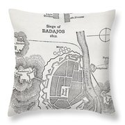 Map Showing The Site Of The Siege Of Throw Pillow