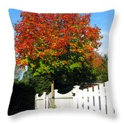 Maple And Picket Fence Throw Pillow by Olivier Le Queinec