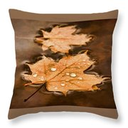 Maple Leaves And Drops Pnt Throw Pillow