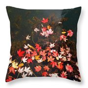 Maple Leaves On The Water  Throw Pillow