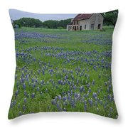 Marble Falls Texas Stone House And Bluebonnets Throw Pillow