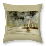 Marblehead Lighthouse In The Winter Throw Pillow
