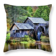 Mabry Mill A Blue Ridge Parkway Favorite Throw Pillow by Ola Allen