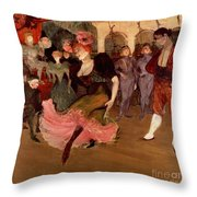 Marcelle Lender Dancing The Bolero In Chilperic Throw Pillow by Henri de Toulouse Lautrec
