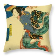 March Cherry Blossom Viewing 1844 Throw Pillow