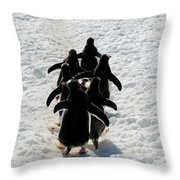 March Of Penguins Throw Pillow