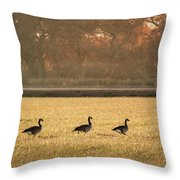March Of The Geese Throw Pillow