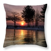 March Sunrise At Detroit Point Throw Pillow