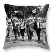 Marchers Wearing Hats Carry Puerto Rican Flags Down Constitution Avenue Throw Pillow