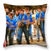 Marching Band - Junior Marching Band  Throw Pillow by Mike Savad