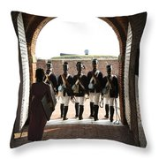 Marching Off On Detail At Fort Mchenry Throw Pillow