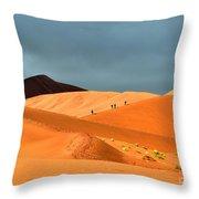 Marching On Sossusvlei Dunes Throw Pillow