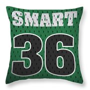 Marcus Smart Boston Celtics Number 36 Retro Vintage Jersey Closeup Graphic Design Throw Pillow