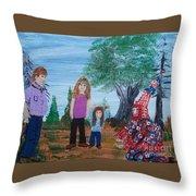 Mardi Gras Beggar And The Children Throw Pillow