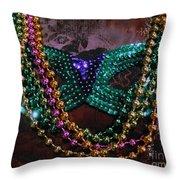 Mardi Gras Feminine Mystique Throw Pillow