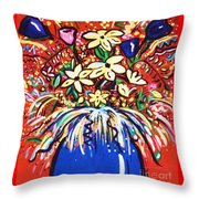 Mardi Gras Floral Explosion Throw Pillow