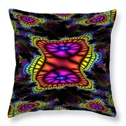 Mardi Gras Fractal Throw Pillow
