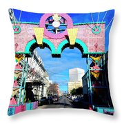 Mardi Gras In Galveston Throw Pillow