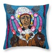 Mardi Gras Indian Apron Detail Throw Pillow